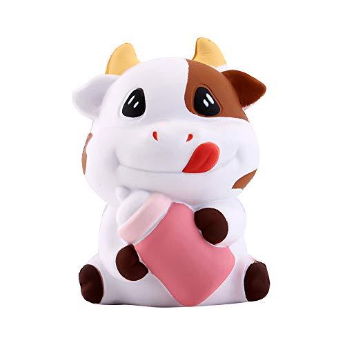 Anboor Squishies Kuh Langsam Steigend Squeeze Spielzeug Süß Kawaii Milch Flasche Slow Rising Antistress Squishies Spielzeug für Kinder Erwachsene (8*6,5*11,5cm, 1 Stück)