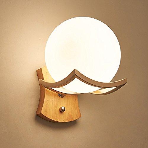 Petatly Lámpara de pared de cristal redonda esférica de estilo japonés Aplique de pared Lámpara...
