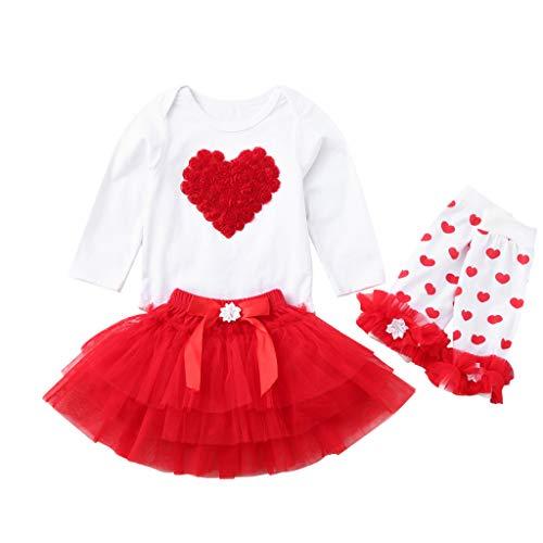 JERFER Neugeborenes Säugling Kleine Brief Drucken Strampler und Tutu Tüllrock Valentine Outfits Einstellen