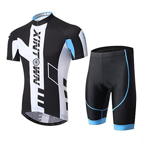 LSHEL Herren Radtrikot Set Fahrrad Trikot Kurzarm + Radhose mit Sitzpolster Radsport, Rad blauen Anzug, XS(Empfohlene Höhe: 160-168cm) -