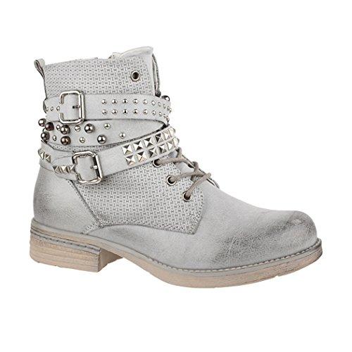 Elara Damen Frühling Stiefelette | Biker Boots | Trendy Lederoptik | Chunkyrayan 88002-Lt.Grey-40