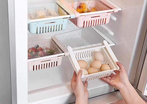 SHOPPOSTREET Adjustable Fridge Storage Basket Expandable Fridge Storage Rack Plastic Fridge Space Saver Food Organizer Tray (1 Piece)
