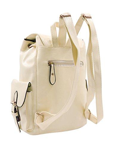 Allegra K Woman Gebogen Zugleine Multi-Taschen Nachahmung Leder Rucksack Beige