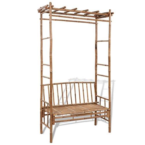 Festnight Sitzbank Gartenbank Parkbank Gartenmöbel aus Bambus mit Pergola