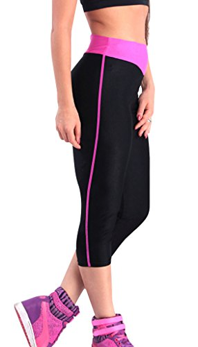 Jogging hose damen sport 3/4 Stretch Leggings Schwarz+Rose rot Strumpfhosen joggings,L (Cord-stretch-leggings)