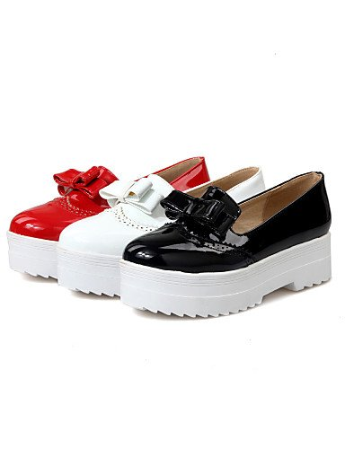 ZQ Scarpe Donna - Scarpe col tacco - Casual - Plateau - Plateau - Finta pelle - Nero / Rosso / Bianco , red-us10.5 / eu42 / uk8.5 / cn43 , red-us10.5 / eu42 / uk8.5 / cn43 black-us7.5 / eu38 / uk5.5 / cn38