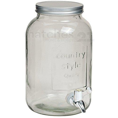 matches21 Getränkespender Glas mit Zapfhahn / gläsernes Fass Bottich 15x26 cm / 3 Liter (Glas Fass Glas)