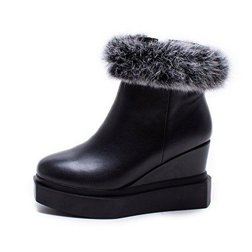 WSS chaussures à talon haut Fourrure de lapin de mode garniture col rond à capuche respirant chaussures occasionnelles Black