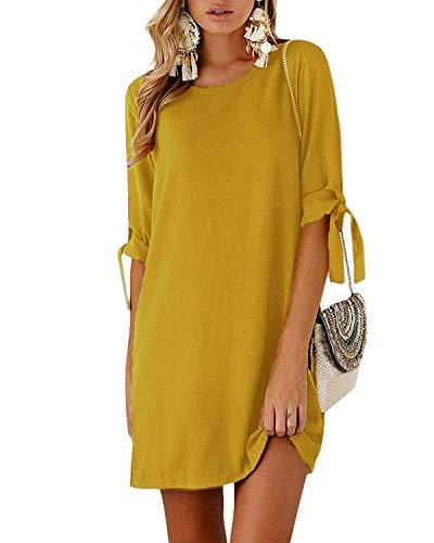 Kidsform Sommerkleid Damen Casual Langes T-Shirt Kleid Lose Tunika Kurzarm Rundhals Minikleid mit Bowknot Ärmeln, 2XL=EU44,  Gelb (Gelbe Tunika Kleid)