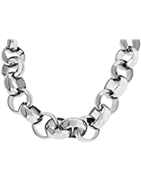 634b8e02b19 XXL Giant Men's Luxury Silver Plated 16mm Bling Solid Belcher Chain Necklace