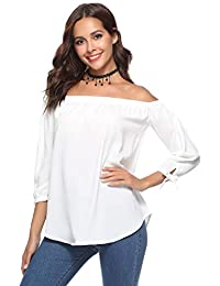 Aibrou Mujer Fuera de la Camisa del Hombro, 3/4 Manga Blusas Casuales Top Camiseta Vestido túnica Swing Estilo