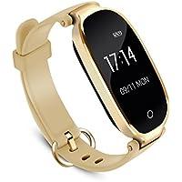 Bracelet Intelligent Femme AGPTEK W03 Tracker d'Activité avec Cardiofréquencemètre Podomètre Calories Sommeil - Bluetooth 4.0 Bracelet Connecté Etanche IPX7 - Pour IOS 8.0 Android 4.3, Or
