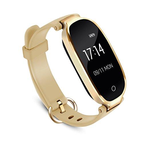 Fitness Tracker für Damen, AGPTEK Wasserdicht Fitnessarmband mit Pulsmesser, Schrittzähler Fitness Uhr Pulsmesser Schlafmonitor Kalorienzähler, Smartwatch mit Pulsmesser, Gold