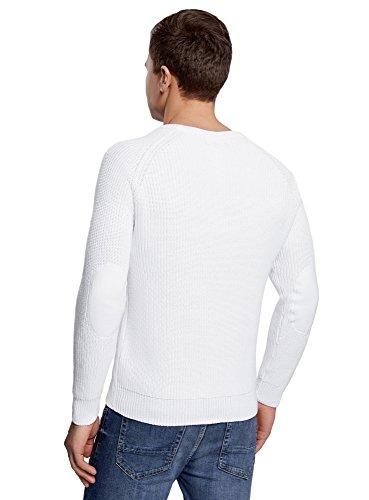 oodji Ultra Herren Baumwoll-Pullover mit Rundhalsausschnitt Weiß (1200N)