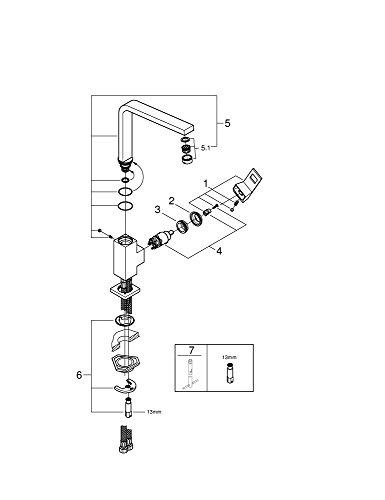 Grohe – Eurocube Küchenarmatur, Schwenkbereich 360°, hoher Auslauf, Chrom - 6