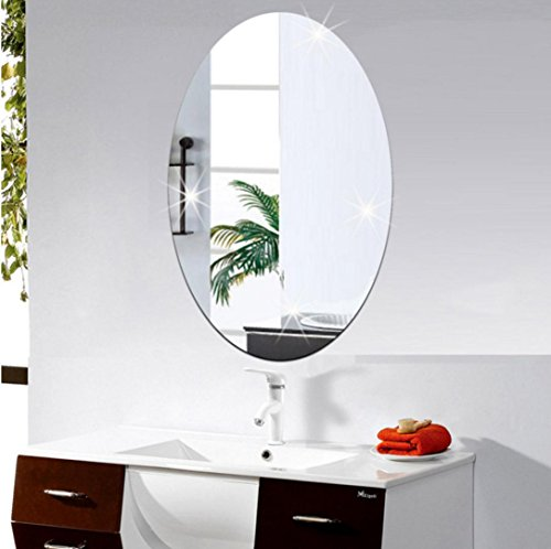 Spiegel Wand Aufkleber Oval selbstklebende Zimmer Dekor Stick Auf Kunst Dekor (Silver) (Spiegel Für Wand-dekor)