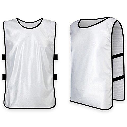 Training Vests Football - Soccer Bibs - Basketball Vest Team Uiform for Men Outdoor Sports Soccer Football Basketball Training Bibs Vest Adult XL White