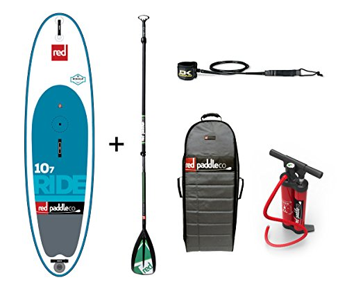 Red Paddle 2017 Co 10'7 Ride WINDSUP Inflatable Stand Up Paddle Board + Bag, Pump, Paddle & LEASH (Board Tasche Paddle)