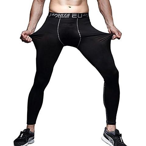 Bluestercool Männer Lauftraining Basketball Hosen Leggings Hose schnelltrocknende Hose (L) (Compression Capri Tights)