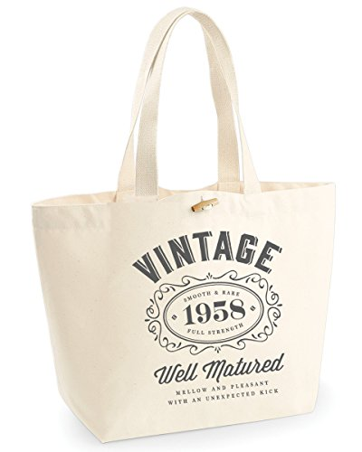 60th Birthday 1958 Keepsake Funny Gift Gifts For Women Novelty Ladies Female Heavyweight EarthAwareTM Organic Marina Tote Bag