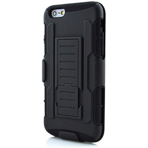 Caja del telefono celular - SODIAL(R)Caja hibrida protectora de alto impacto + pinza de correa soporte caja de bolso de telefono para el iPhone 5 / 5s negro