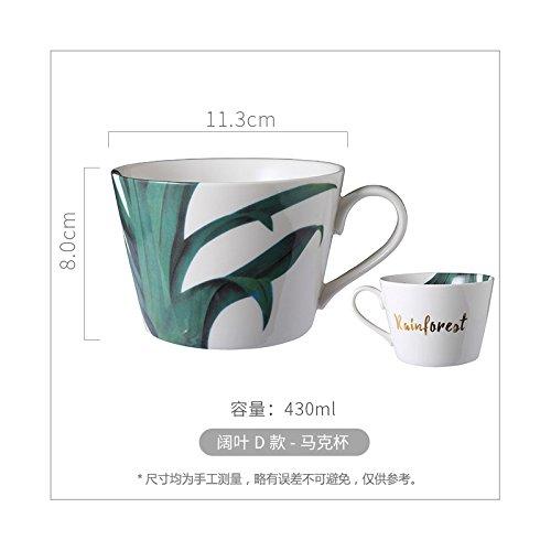 Good quality cup Die weißen Tassen breiten Blattpflanzen, der Keramiktasse, D.