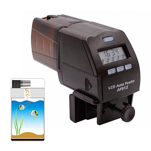 petacc Digital Automatischer Fisch Futterspender Multifunktionale Fische Lebensmittel Spender Auto Fischfutter Timer mit LCD-Display und Feeding Time, braun