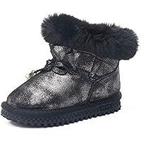 zj Botas de Nieve para Niños Zapatos de Invierno para Niños Botas de Nieve para Niños de Cuero Arco Chicas Salvajes Botas de Algodón Cálido,Negro,35