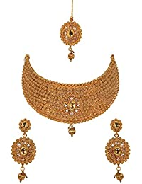 Jewels Gold Traditional Diamond & Golden Tribal Necklace With Earrings Set & Maangtika For Women & Girls
