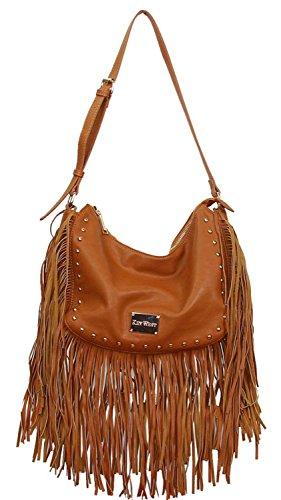 Célébrités Style Gessy rock chic Tassel Fringe sac à main Par LYDC (Brown) Brun