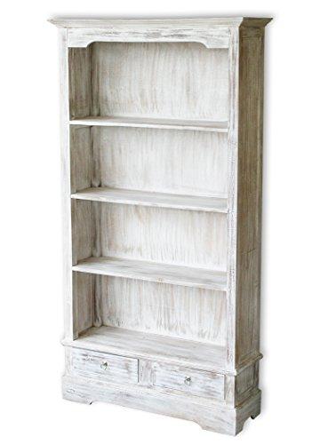 LioLiving Bücherregal Angela mit 2 Schubladen und 4 Fächern im Vintage-Look (#400028) (Bücherregal 2 Schubladen)