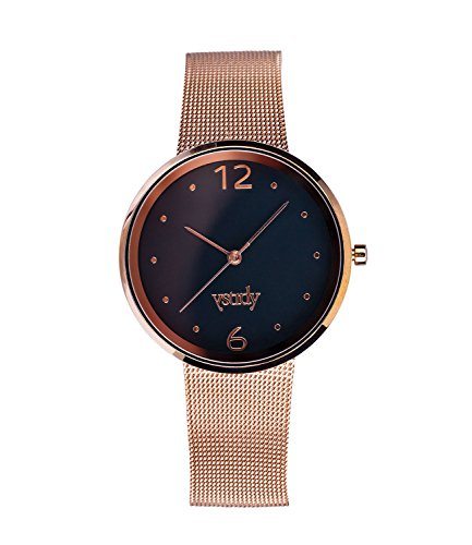 �-goldene Mesh-Armband Uhr, mit schwarzem Ziffernblatt, schlichtes Design, in Geschenkbox (274-453) (Mesh Samt Kostüme)