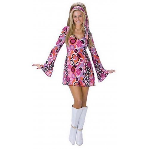Ladies Sexy 60s 70s Decades Pink Feeling Groovy Hippy Chick Fancy Dress Costume Outfit (UK 12-14)