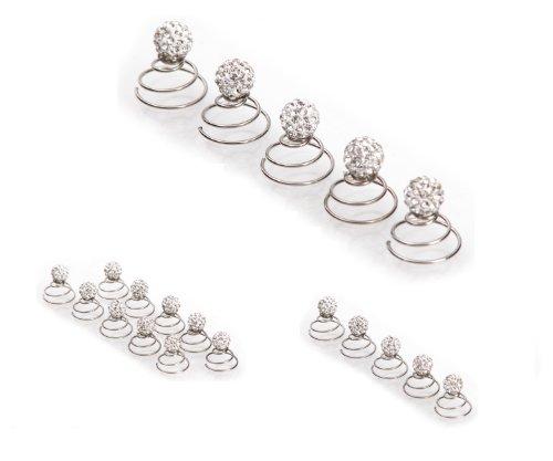 Épingles en spirale ornées de strass - accessoire pour cheveux/coiffure de mariée - de qualité | perle à strass - 5 pièces - cristal