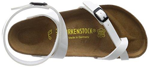 Birkenstock Classic Yara Birko-Flor Damen Knöchelriemchen Sandalen Weiß (Lack Weiß)