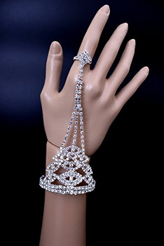 Exquisite Bridal Wedding Pageant Party Rhinestone Bangle Attached With Ring (Style 2)
