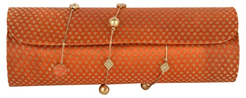 Anas Embroidery Women's Clutch Party wear Hand Embroidery Box clutch Purse For Bridal Hand Bag Casual.Party Wear Weeding Bag for Woman Embroidery Latest clutch Potli orang Color Handicraft Bag for Woman Bag for girl's Clutch's for Woman