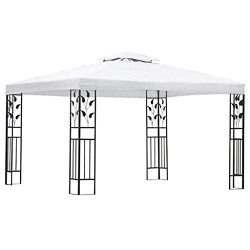 vidaxl carpa de jardín acero y tela blanco y negro 3x4 m cenador carpa patio
