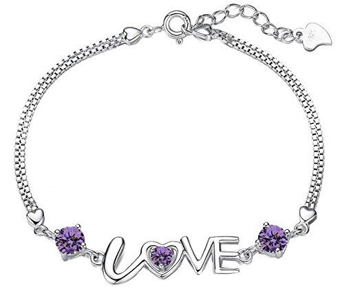 Qinlee Silber Damen Armband Armkette LOVE Brief Doppelte Herzform Legierung Armband Valentinstag Fashion Armbänder Weihnachten Geburtstag Geschenk Mode Armbänder