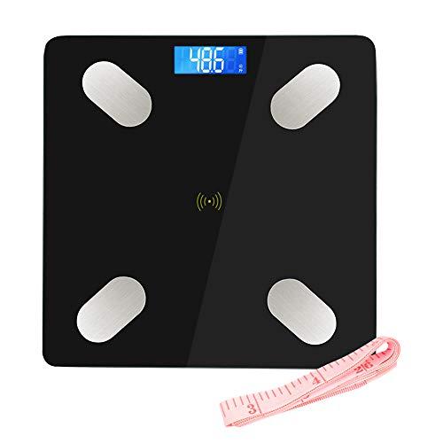 LIFE-LXC Balance Connecté, Pèse-Personne Bluetooth, Mesure du Poids,Graisse,Masse Musculaire et Osseuse,Eau,Ecran Rétroéclairé Auto On/Off, Ruban à mesurer, Verre Trempée, Noir-400 lbs/180kg