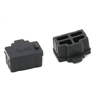 Kebinfen 50 Stück Schwarz Silikon Ethernet Hub Port RJ45 Abdeckung Anti staubschutz stöpsel für PC Ethernet Hub Port RJ45 Weiblich End (50 Stück, Schwarz)