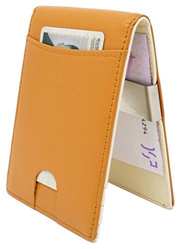 CRS Wallet Geldbörse mit Münzfach & Geldklammer   RFID Schutz   Kompaktes Design   Echtleder Portmonee mit Fächern für Kreditkarten, Personalausweis, Führerschein & Visitenkarten (Beige)