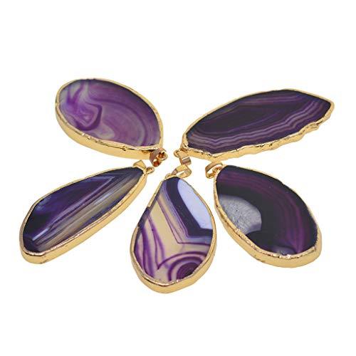 Ipotch 5 pezzi agata fette pendenti cristalli geode pietre gioielli ciondolo rendendo charms - 50-80 mm / 2-3 pollici - viola