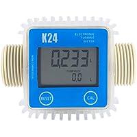 K24 LCD Turbine Medidor de flujo de combustible diesel digital anticorrosión para aceite combustible diesel Urea líquido agua (azul)