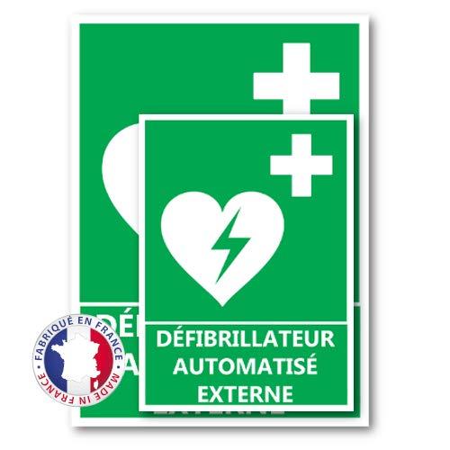 Signalétique Emplacement du défibrillateur DAE A4 - Plastique rigide PVC - Kit de fixation inclus - Protection Anti-UV - Fabriqué en France
