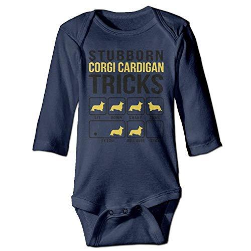 MSGDF Unisex Toddler Bodysuits Stubborn Corgi Cardigan Tricks Girls Babysuit Long Sleeve Jumpsuit Sunsuit Outfit Navy - Long Sleeve Ruffle Cardigan