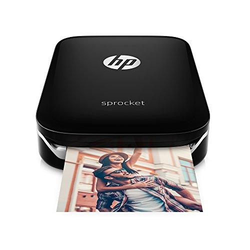 HP Sprocket-Impresora fotográfica portátil (impresión sin tinta, Bluetooth, 5x 7,6cm impresiones), color negro/plata