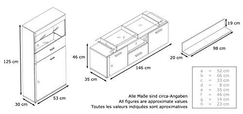 Wohnwand schwarz Hochglanz Almada – 280 cm - 4