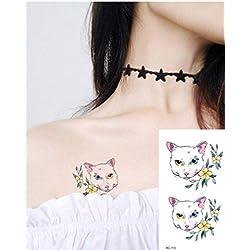 Impermeabilepegatinas Tatuaje Pegatinas Arcoiris Resistente Al Sudoredibujosetiqueta Engomada Del Tatuaje De La Moda Del Gato Animal De La Acuarela 3Pcs