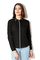 Allen Solly Womens Button Down Shirt (AWTS316T06668_Black Solid_M)
